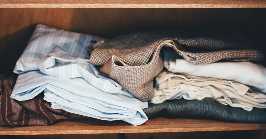 clothes on a shelf