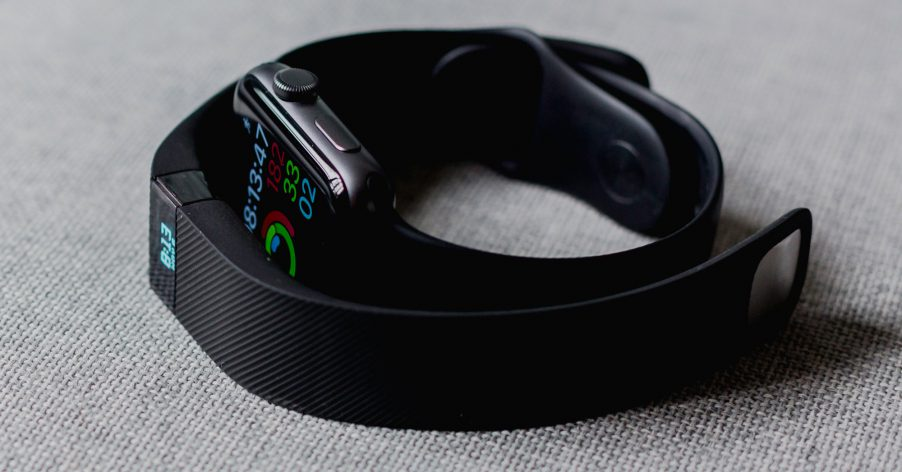 fitness trackers on a table